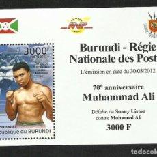 Sellos: BURUNDI 2012 HOJA BLOQUE SELLOS DEPORTES BOXEO- BOXEADOR- PELEA MUHAMMAD ALI - SONNY LISTON. Lote 210404072