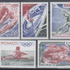 Sellos: DEPORTES, MONACO , YVERT Nº 1057 / 1061 /**/, JUEGOS OLÍMPICOS DE MONTREAL, . Lote 133595802