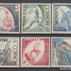 Sellos: DEPORTES, MONACO , YVERT Nº 386 / 391 /**/, JUEGOS OLÍMPICOS DE HELSINKI 1952. . Lote 133595822