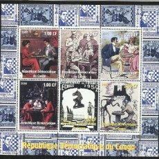 Sellos: CONGO 2000 HOJA BLOQUE DE SELLOS TEMATICA HISTORIA DEL AJEDREZ - CHESS . Lote 135670355
