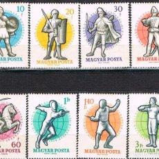 Sellos: HUNGRIA Nº 1624/31, CAMPEONATO MUNDIAL DE ESGRIMA. BUDAPEST, AÑO 1959, NUDVO *** (SERIE COMPLETA). Lote 138811918