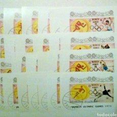 Sellos: OLIMPIADAS DE MUNICH 1972 SERIE COMPLETA DE 24 HOJAS BLOQUE DE SELLOS USADOS DE EMIRATOS ÁRABES. Lote 139290877