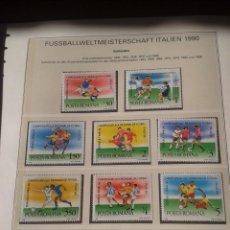 Sellos: RUMANIA 1990 HOJA BLOQUE SELLOS CONMEMORATIVOS DE LA COPA MUNDIAL DE FUTBOL ITALIA 90- FIFA . Lote 140252670