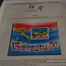 Sellos: RUMANIA 1990 HOJA BLOQUE DE SELLOS CONMEMORATIVOS DE LA COPA MUNDIAL DE FUTBOL ITALIA 90- FIFA . Lote 140253886
