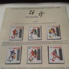 Sellos: RWANDA- RUANDA 1990 SELLOS CONMEMORATIVOS DE LA COPA MUNDIAL DE FUTBOL ITALIA 90- FIFA . Lote 140255806