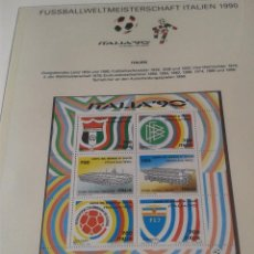 Sellos: HOJA BLOQUE SELLOS PAISES INTEGRANTES Y SEDES GRUPO E DE LA COPA MUNDIAL DE FUTBOL ITALIA 90- FIFA . Lote 140272670