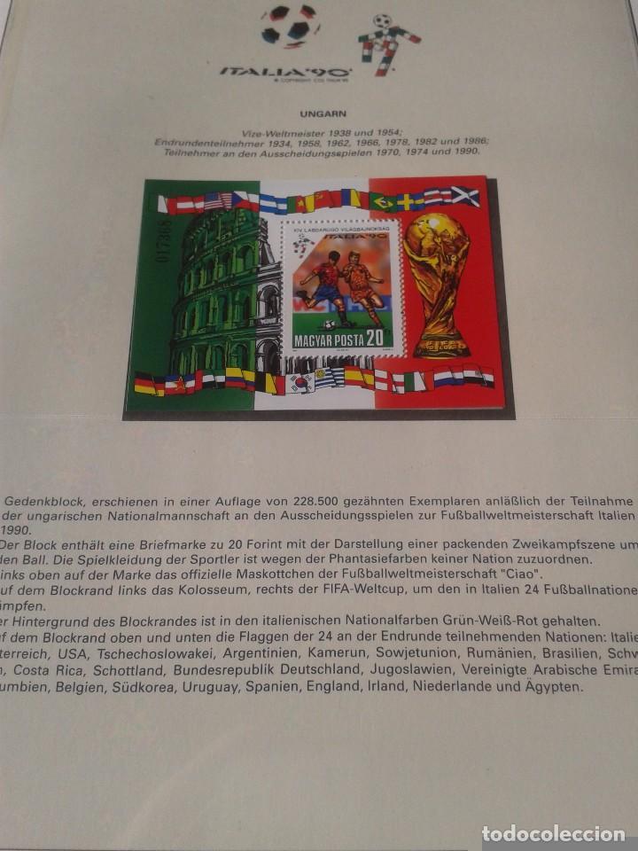 HUNGRIA MAGYAR 1990 HOJA BLOQUE SELLOS CONMEMORATIVOS DE LA COPA MUNDIAL DE FUTBOL ITALIA 90- FIFA (Sellos - Temáticas - Deportes)