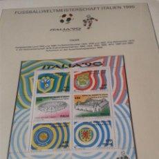Sellos: HOJA BLOQUE SELLOS PAISES INTEGRANTES Y SEDES GRUPO C DE LA COPA MUNDIAL DE FUTBOL ITALIA 90- FIFA . Lote 140277998