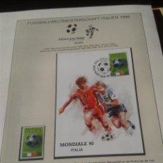 Sellos: BELGICA 1990 POSTAL PRIMER DIA SELLOS CONMEMORATIVOS DE LA COPA MUNDIAL DE FUTBOL ITALIA 90- FIFA . Lote 140281174