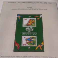 Sellos: BULGARIA 1990 HOJA BLOQUE DE SELLOS CONMEMORATIVOS DE LA COPA MUNDIAL DE FUTBOL ITALIA 90- FIFA . Lote 140281842