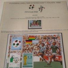 Sellos: BOLIVIA 1988 HOJA BLOQUE DE SELLOS COPA MUNDIAL DE FUTBOL ITALIA 90- FIFA- BURRUCHAGA- BRIEGEL + . Lote 140283938