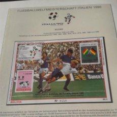 Sellos: BOLIVIA 1989 HOJA BLOQUE DE SELLOS COPA MUNDIAL DE FUTBOL ITALIA 90- FIFA . Lote 140284134