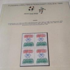 Sellos: ITALIA 1989 SELLOS CONMEMORATIVOS DE LA COPA MUNDIAL DE FUTBOL ITALIA 90- FIFA . Lote 140284674