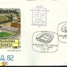Sellos: SOBRE PRIMER DIA CIRCULACION COPA MUNDIAL DE FUTBOL ESPAÑA 82- ALEMANIA 3 - FRANCIA 3 - FIFA- FDC . Lote 140796598