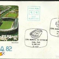 Sellos: SOBRE PRIMER DIA CIRCULACION COPA MUNDIAL DE FUTBOL ESPAÑA 82- ITALIA 1 - PERU 1 - FIFA- FDC . Lote 140797074