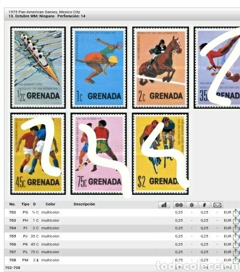 Sellos: Sellos Granada (Grenada) nuevos/1975-1976/Deportes/caballo/hipica/natacion/remo/barca/ciclismo/salt - Foto 2 - 142828718