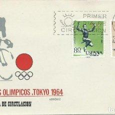 Sellos: 1964. SPAIN. PRIMER DIA CIRCULACIÓN JUEGOS OLÍMPICOS TOKYO. OLYMPIC GAMES. SPORTS/DEPORTES. . Lote 143640434