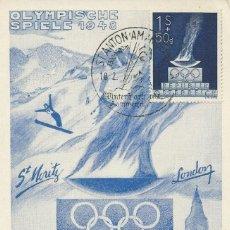 Sellos: 1948. AUSTRIA. MÁXIMA/MAXIMUM CARD. JUEGOS OLÍMPICOS. YVERT 696. OLYMPIC GAMES. DEPORTES/SPORTS.. Lote 143649318