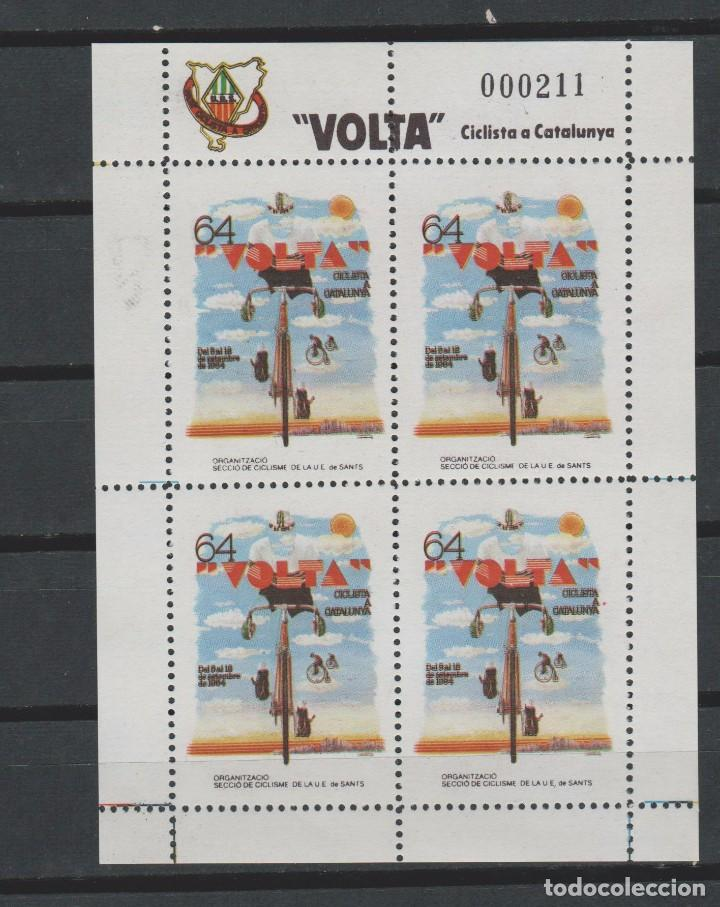 LOTE 4 VIÑETAS SELLOS VUELTA CICLISTA CATALUÑA AÑOS 80 CICLISMO (Sellos - Temáticas - Deportes)
