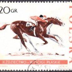 Sellos: 1967 - POLONIA - DEPORTES ECUESTRES - CARRERA DE CABALLOS - YVERT 1591. Lote 144143798