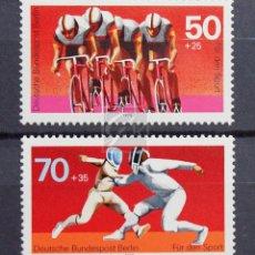 Sellos: ALEMANIA BERLÍN 1978 ** NUEVO ** MNH ** DEPORTE: CICLISMO Y ESGRIMA. Lote 147439270