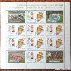 Sellos: 25 ANIVERSARIO COPA DEL REY 1977 CAMPEON ZARAGOZA - HOJA CON 8 SELLOS. Lote 149085914