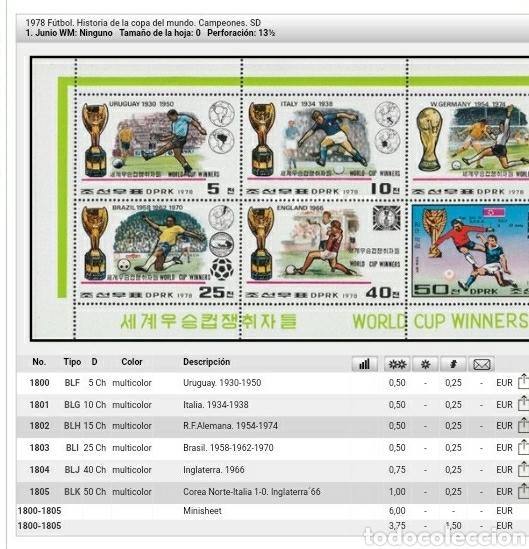 Sellos: HB Corea Norte mtda (DPKR)/1978/Historia campeones mundial futbol/deporte/selecciones/juego/copa/ - Foto 3 - 151433965