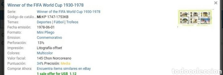 Sellos: HB Corea Norte mtda (DPKR)/1978/Historia campeones mundial futbol/deporte/selecciones/juego/copa/ - Foto 2 - 151434046