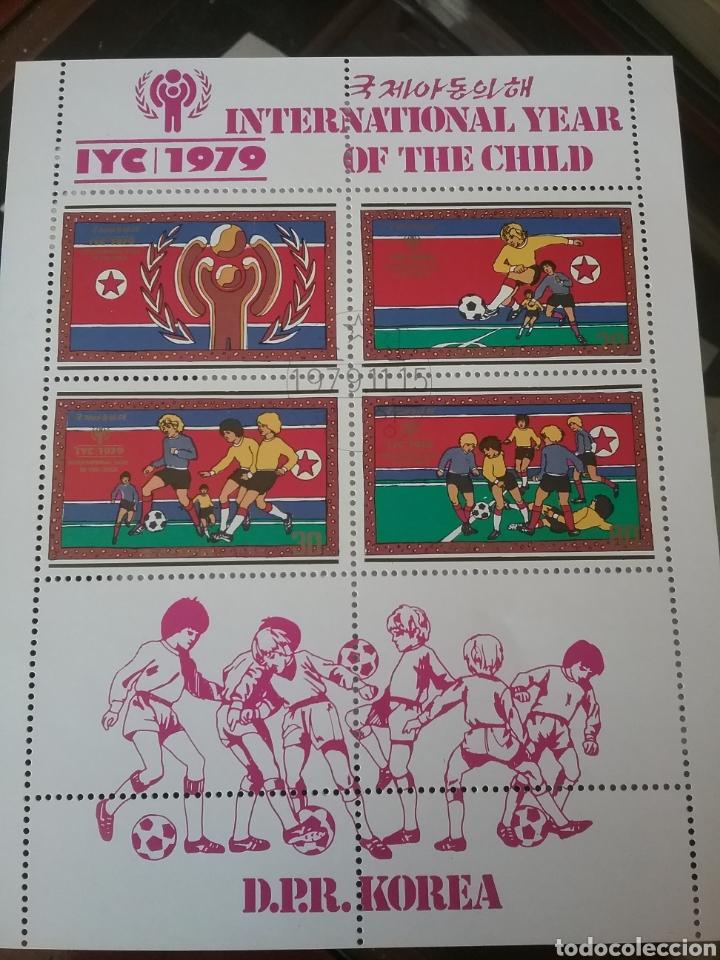 HB COREA NORTE MTDA (DPKR)/1979/AÑO INTERN. NIÑO/INFANCIA/JUEGOS/FURBOL/DEPORTE/BANDERA/ESLOGAN/SIMB (Sellos - Temáticas - Deportes)