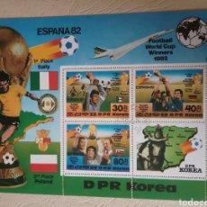 Sellos: HB COREA NORTE MTDA (DPKR)/1982/COPA MUNDIAL FUTBOL ESPAÑA,82/AVION/BANDERAS/SELECCIONES/DEPORTE/. Lote 152156268
