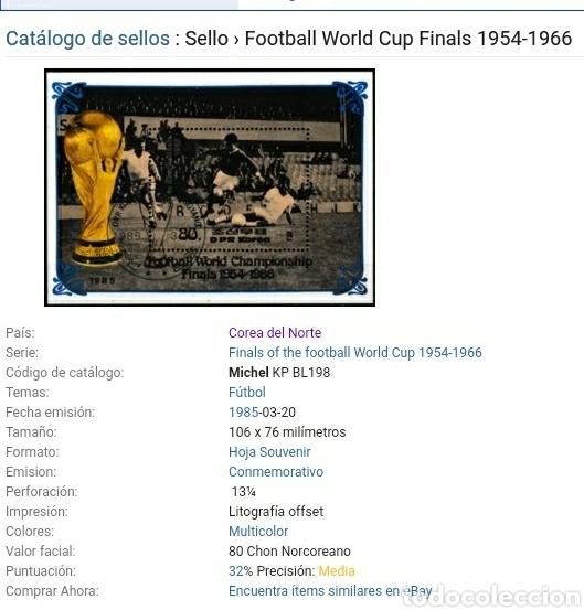Briefmarken: Sellos Corea Norte mtda (DPKR)/1985/Campeonato mundial futbol. Hostoria. Finales/selecciones/deporte - Foto 2 - 152344310