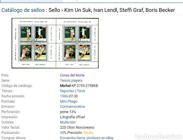 Sellos: HB Corea Norte mtda (DPKR)/1986Jugadores de tenis/Steffi Graf/deporte/raqueta/Ivan Lendl/banderas/tr - Foto 2 - 152349338