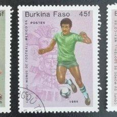 Sellos: 1985. DEPORTES. BURKINA FASO. 666 / 668. PRE-MUNDIAL FÚTBOL MÉXICO´86. SERIE COMPLETA. USADO.. Lote 154024350
