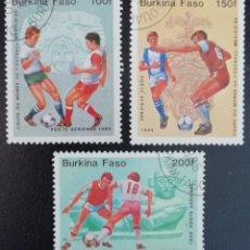 Sellos: 1985. DEPORTES. BURKINA FASO. A 305 / A 307. PRE-MUNDIAL FÚTBOL MÉXICO´86. SERIE CORTA. USADO.. Lote 154024754