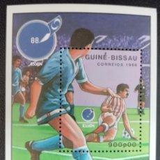 Sellos: 1988. DEPORTES. GUINEA BISSAU. HB 59 A. COPA DE EUROPA FÚTBOL. NUEVO.. Lote 154159682