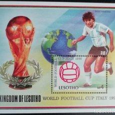 Sellos: 1989. DEPORTES. LESOTHO. HB 73. PRE-MUNDIAL FÚTBOL ITALIA. DIEGO MARADONA. NUEVO.. Lote 154237054
