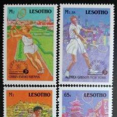 Sellos: 1988. DEPORTES. LESOTHO. 800 / 803. 75 ANIVERSARIO FEDERACIÓN INT. TENIS. TENISTAS FAMOSOS. NUEVO.. Lote 154239186