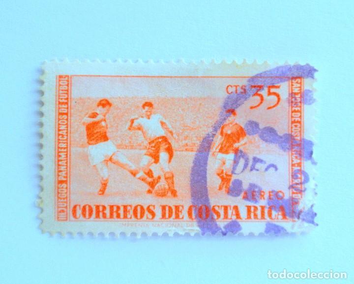 SELLO POSTAL COSTA RICA 1960, 35 C ,III JUEGOS PANAMERICANOS DE FUTBOL, USADO (Sellos - Temáticas - Deportes)