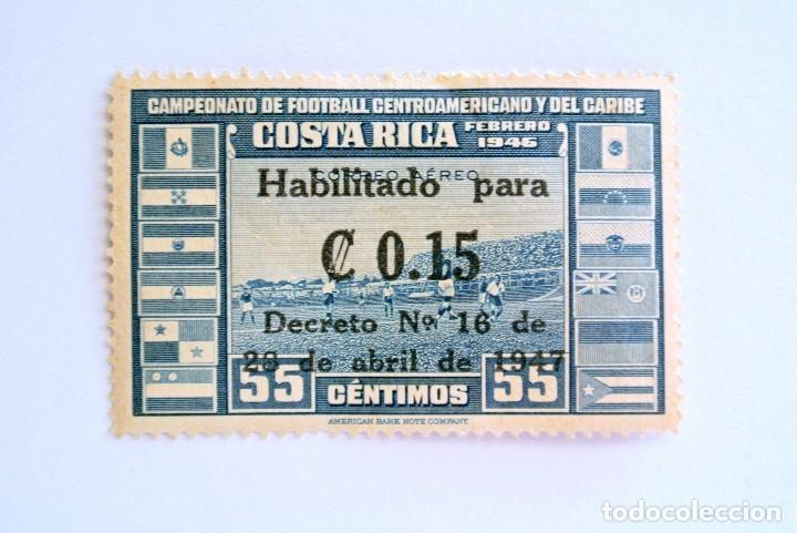 SELLO POSTAL COSTA RICA 1946,0,15 COLÓN,CAMPEONATO DE FUTBOL CENTROAMERICANO Y DEL CARIBE,SIN USAR (Sellos - Temáticas - Deportes)