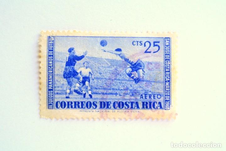 SELLO POSTAL COSTA RICA 1960 ,25 C, III JUEGOS PANAMERICANOS DE FUTBOL, USADO (Sellos - Temáticas - Deportes)