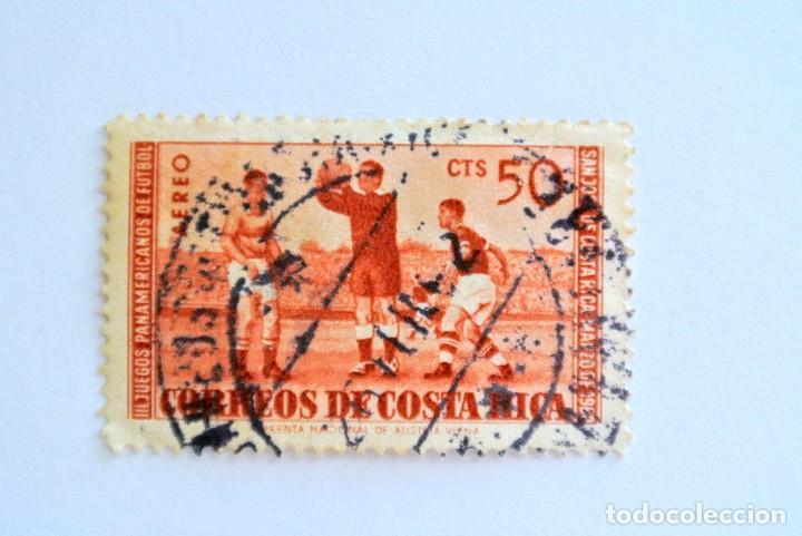 SELLO POSTAL COSTA RICA 1960 ,50 C, III JUEGOS PANAMERICANOS DE FUTBOL, USADO (Sellos - Temáticas - Deportes)