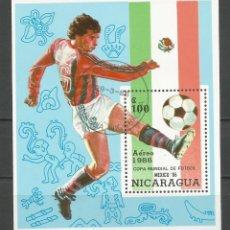 Sellos: NICARAGUA - AÑO 1986 - CAMPEONATO DEL MUNDO DE FÚTBOL DE MÉXICO - COMPLETA. Lote 155321750