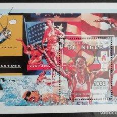Sellos: 1996. DEPORTES. NIGER. HB 65. JUEGOS OLÍMPICOS ATLANTA. ATLETISMO. NUEVO.. Lote 155799598