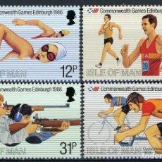 Sellos: ISLA DE MAN 1986 IVERT 293/6 *** JUEGOS DE LA COMMONWEALTH EN EDIMBURGO - DEPORTES. Lote 158141122