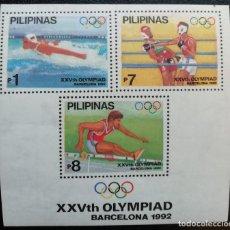 Sellos: 1992. DEPORTES. FILIPINAS. HB 43. JUEGOS OLÍMPICOS BARCELONA. NUEVO. . Lote 159107878