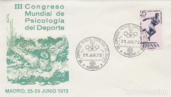 AÑO 1973, CONGRESO MUNDIAL SOBRE PSICOLOGIA EN EL DEPORTE EN MADRID, CIRCULADO, SOBRE DE ALFIL (Sellos - Temáticas - Deportes)