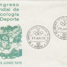 Sellos: AÑO 1973, CONGRESO MUNDIAL SOBRE PSICOLOGIA EN EL DEPORTE EN MADRID, CIRCULADO, SOBRE DE ALFIL. Lote 159237346