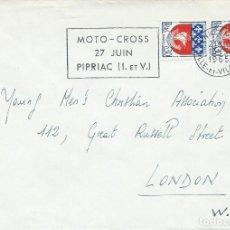 Sellos: 1965. FRANCIA/FRANCE. RODILLO/SLOGAN. MOTOCROSS. DEPORTES/SPORTS. MOTOR. CIRCULADO A LONDRES.. Lote 163365842