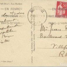 Sellos: 1937. FRANCIA/FRANCE. RODILLO/SLOGAN. RAID FEMENINO AUTOMOVILISMO. AUTO RACING. DEPORTES/SPORTS.. Lote 163368206