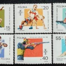 Sellos: 1988. DEPORTES. POLONIA. 2956 / 2961. JUEGOS OLÍMPICOS SEÚL. SERIE COMPLETA. NUEVO.. Lote 163949550